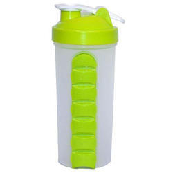 Plastic White And Green Sipper Sports Water Bottle