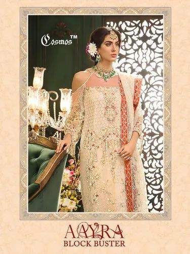 Net Unstitch Cosmos Aayra Block Buster Net Embroidered Pakistani Style Dresses