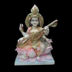 Multicolor Marble Saraswati Statue