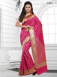 Pink Cotton Jacquard Silk Sarees