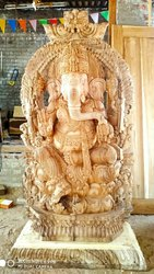 Wooden Ganesh Statue 6 ft