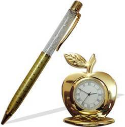 Gold Apple Table Watch and Golden Pen