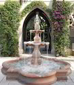 Sandstone Pink Carved Garden Fountain With Pond Structure