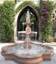 Carved Garden Fountain with pond structure