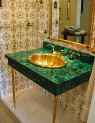 Malachite Sink With Brass