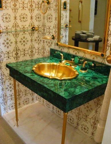 Semi Precious Stone Sink Malachite Sink With Brass