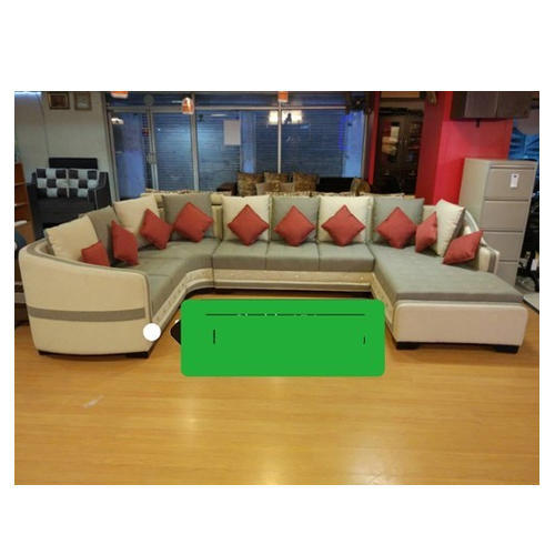 Wood Fabric Designer U Shape Sofa Set