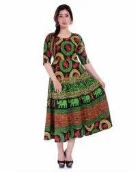 3/4th Sleeves Ladies Printed Frock