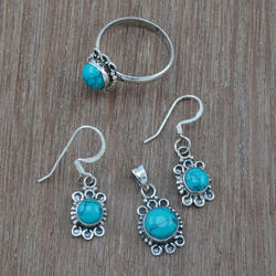 Turquoise Sterling Silver Antique Gemstone Jewelry New Set