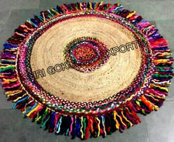 SGE Hand Woven Multi Round Rug for Home