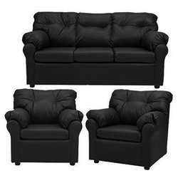 Black Leather Sofa Set, for Home