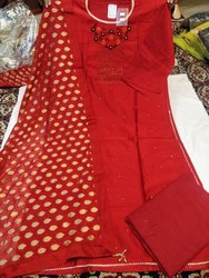 Top Bubbling With Light Embroidery Cotton Bottom Georgette Dupatta With All Over Golden Buti
