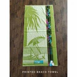 Green Terry Cotton Jacquard Beach Printed Towel, Size: 73x146 cm