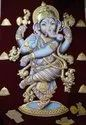 Wooden M.d.f Board Lord Ganesha Tanjore Painting, For Pooja Room Decoration, Size: 3fx4f