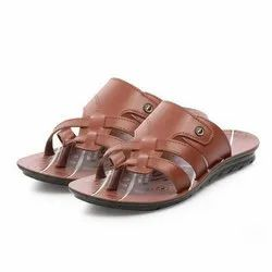Mens Tan Ethnic PU Slippers