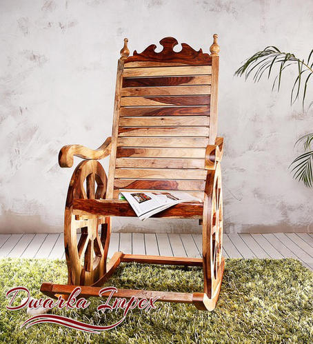 Brown Wooden Rocking Chair for Houses & Hotels