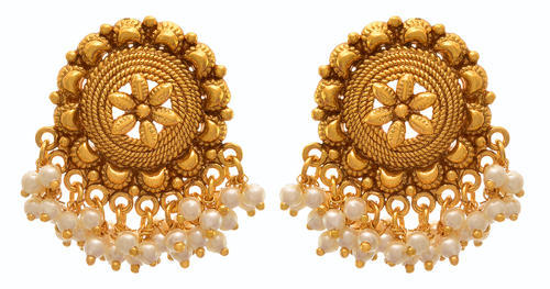 Gold Jfl Traditional Ethnic Plated Pearls Designer Earring Rs