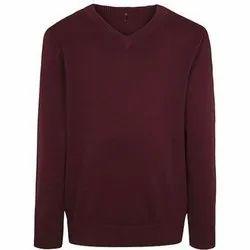 oswal V Neck Maroon Woolen School Sweaters, Size: 26-32