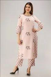 Designer Light Pink Printed Cotton Kurtis With Palazzo