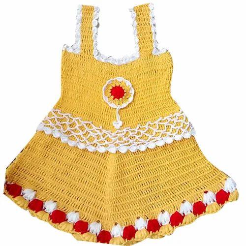 Woolen Yellow White Frock Crochet Kids Dress Rs 250 Piece Id