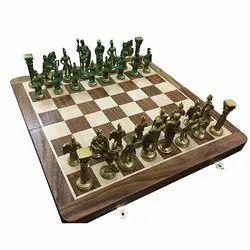 14 Brass Roman Green Gold Folding Wood Chess Board