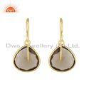 Designer Gold Plated 925 Silver Smoky Quartz Gemstone Hook Earrings