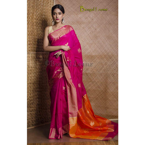 841fcf5cb4 Pure Handloom Chanderi Cotton Silk Saree in Hot Pink at Rs 3900 ...