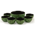 Green Handcrafted Ceramic Dinner Bowl Set