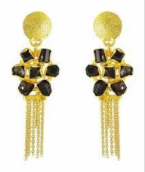 Raw Tourmaline Gemstone Gold Plated Designs for Women Ethnic Fashion Earrings