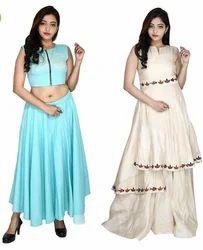 Round Neck Party Wear Womens Cotton & Tassar Silk Dress Pack Of 2
