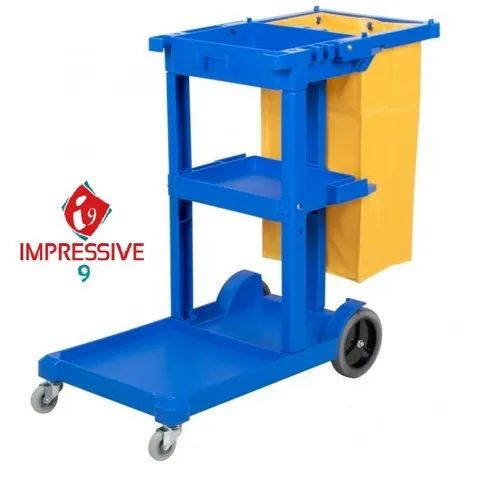 Plastic Blue Impressive 9 Housekeeping Janitorial Cart for Hotels
