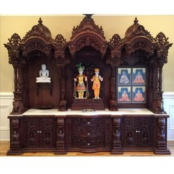 Hand Carved Wooden Temple, For Home, Office, 5-8 Kg