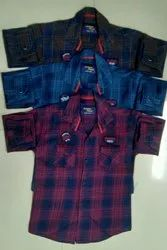 Kids Indigo Check Shirts