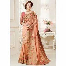 Printed Party wear Ladies Fancy Saree, Dry clean