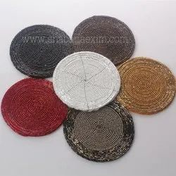 Party Shiny Glass Beads Table Coaster Place Mats