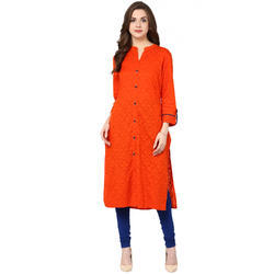 Cotton Orange Printed Kurti, Size: S, M & L