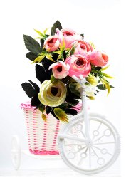 Pink Latest Craftfry Rose Basket With Bicycle Home Decorative Item