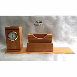 Long Wooden Pen Stand With Clock