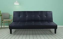 Black Wooden Flip Leatherette Sofa Cum Bed