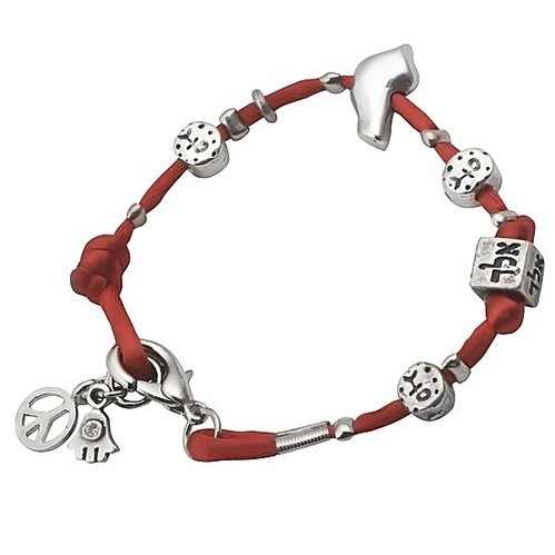 Silver Plated Red Leather Bracelet Jewish Symbols By Or Je At Rs