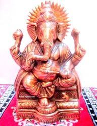 Metal Ganesh Idol With Copper Finish