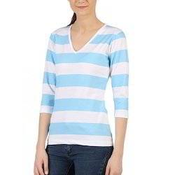 Clifton Womens Bold Stripes 3/4 th Sleeve V-Neck T-Shirt