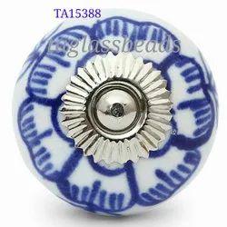 Round Ceramic White And Blue