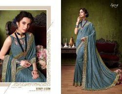 Fancy Ethnic Grey Party Wear Sarees