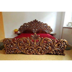 Decor Savvy Brown Teak Wood Bed, Size: King Size