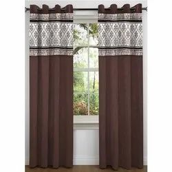 Eyelet Brown Decorative Readymade Curtain, For Window