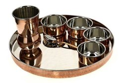 King International 5 Pure Copper SS Luxury Dinner Thali Set for Home