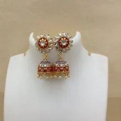 111 Red Blue Kundan Meenakari Earrings