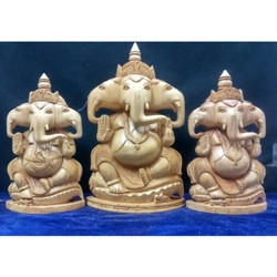 Wooden Three Faces Ganesha Statue