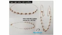 18k Italain Fancy Gold Necklace, Packaging Type: Box